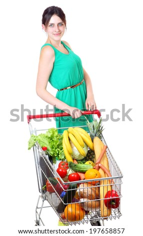 Shopping Cart Full Of Grocery, buying groceries in bulk, shoppers with shopping carts, supermarket trolley full of food, isolated on white background