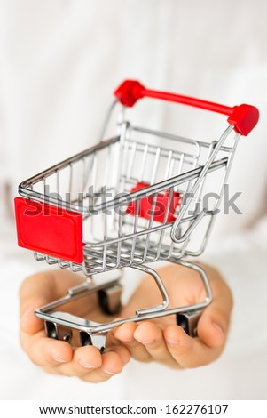 Shopping cart in hands