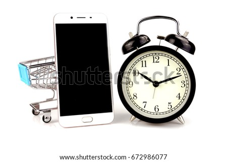Paper Bag Clock On Blue Background Stock Photo 567703450