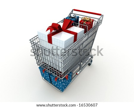 Shopping cart with christmas box - digital artwork