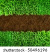 Short green grass and brown earth Background - stock photo