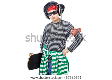 Shot of a trendy teenager posing with skateboard. Isolated over white background.