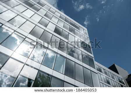 Shot of modern building midday with blue sky