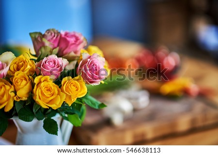 Shot of several beautiful flowers, blur background.