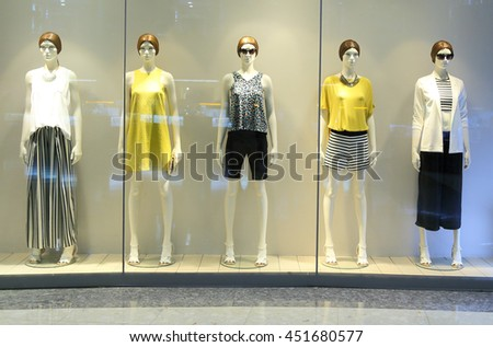 showcase model in store window