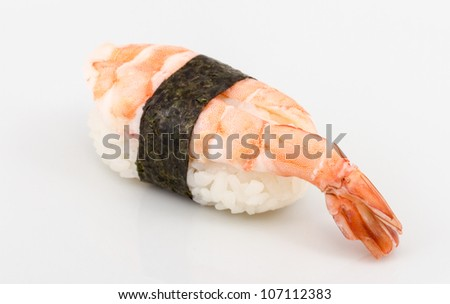Shrimp sushi closeup isolated on white background