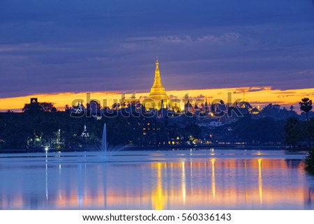 Shwedagon Pagoda at sunset , Myanmar Yangon landmark