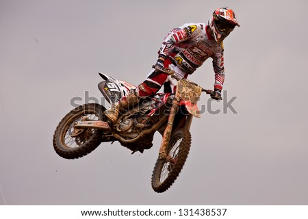 SI RACHA, THAILAND - MAR. 10 : Harri Kullas rider of Team Honda Gariboldi jumping during the MX2 race of The FIM Motocross World Championship Grandprix of Thailand, on March 10, 2013. Thailand