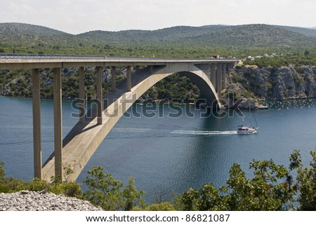Sibenik bridge and the channel of river Krka