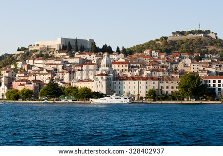 Sibenik harbor and cathedral of st. James, Croatia