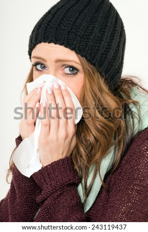 sick woman with a handkerchief / sick woman