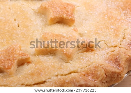 Side up and close view of fresh crusty pie