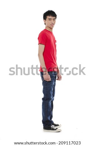 Side view casual young man full body,
