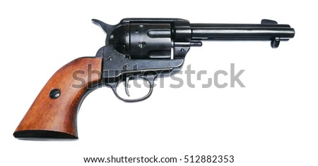 Side view of a revolver isolated on white background
