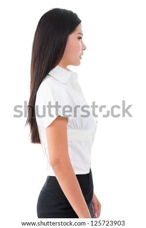 Side view of beautiful Asian young woman standing on white background