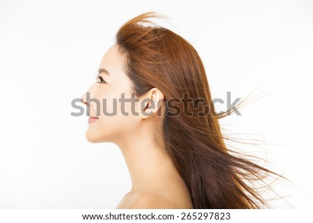 side view of beautiful woman with long hair