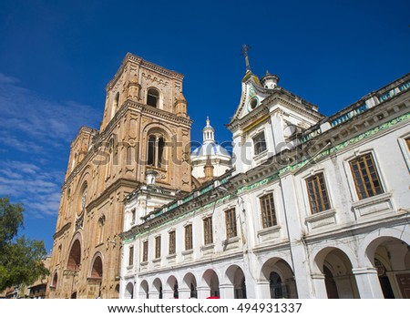 Side view of the Cuenca Cathedral and dome on a sunny morning day. Cuenca Ecuador