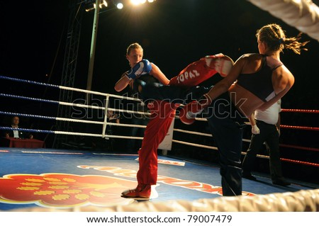SIEDLCE, POLAND - JUNE 10:  Katarzyna Furmaniak (PL) VS Martina Jindrova (CZ) for the World Champion's title at Victory and Glory Finals Tournament on May 28, 2011 in Siedlce, Poland