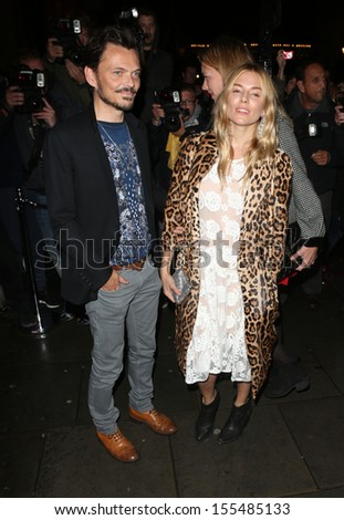 Sienna Miller and Matthew Williamson arriving for London Fashion Week SS14  - Vogue dinner held at Balthazar, London. 15/09/2013