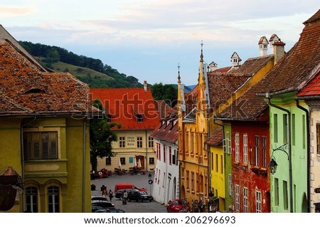 Sighisoara, Transylvania, Romania, CIRCA JUNE 2014 - in town where Vlad Tepes-Draculea was born a life freezes in the evening.