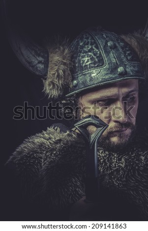 Sign, Costume, Viking warrior with a huge sword and helmet with horns
