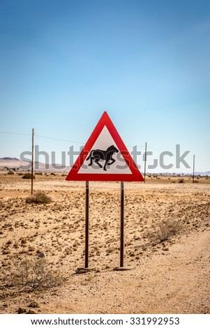 Sign showing a wild horse in southern Namibia, Africa