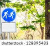 Sign way for people walk and run - stock photo
