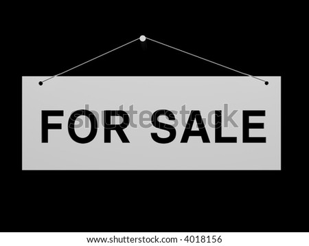 Signboard for sale on a background 3d image