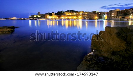 Silence bay at night to Sestri Levante