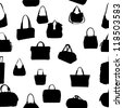 silhouette bag seamless pattern. Raster Version. - stock vector