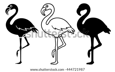 Silhouette flamingos over white background