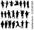 Silhouette girls and boys, element for design, illustration - stock photo