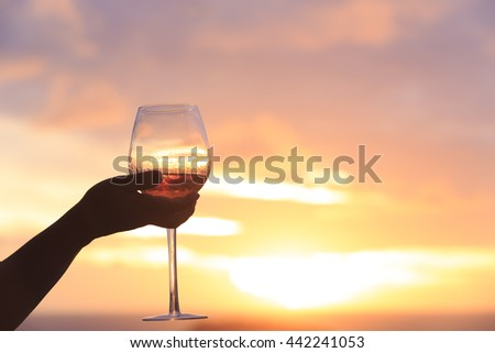 silhouette glass of wine in human hand