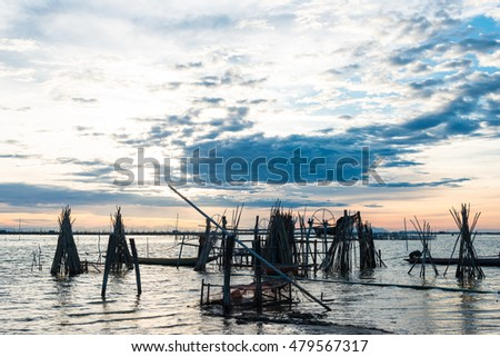 Silhouette image,Fishing Boat at the Songkhla Lake, Thailand