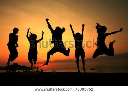 Silhouette jumping team