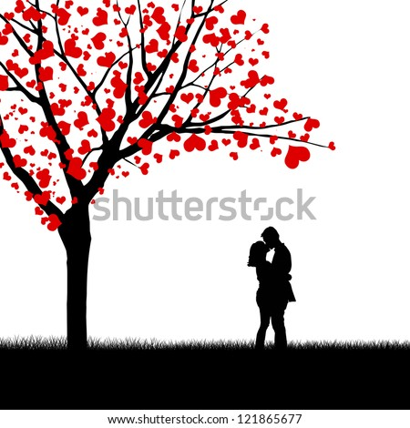 Silhouette of a couple and love tree