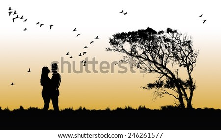 Silhouette of a Couple in love at sunset