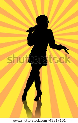 silhouette of a girl having fun at karaoke party