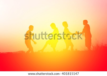 Group People Jumping Outdoors Sunset Stock Photo 420270448 ...