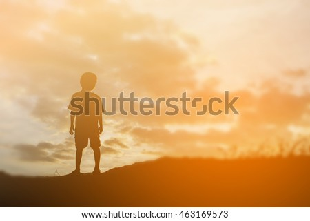 Silhouette Lonely Man Sunset Stock Photo 31799833 ...
