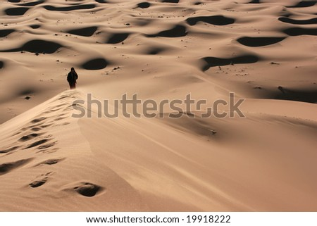 Silhouette of a person walking alone in the desert;