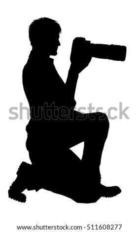 Silhouette of a photographer with dslr camera isolated on white
