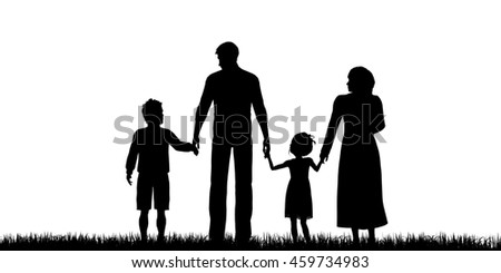 Silhouette of a refugees family with children - 3d render