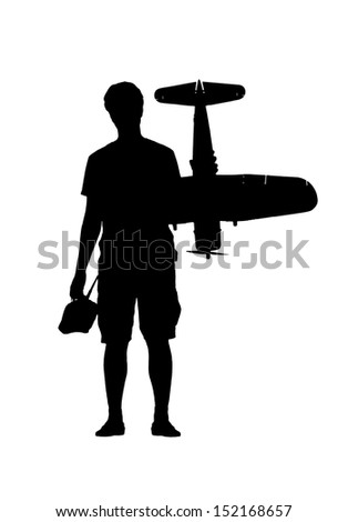Silhouette of a young man or a boy with a RC airplane and a controller, in black on white background