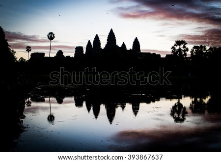 Silhouette of Angkor Wat in the morning.