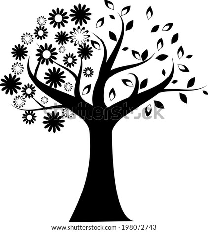 Silhouette of black tree with half of flowers and half of leaves