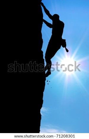 Silhouette of climber. Element of deisgn.