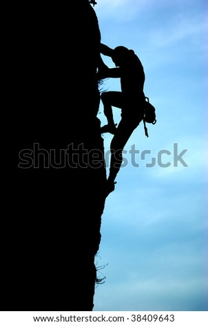 Silhouette of climber. Element of design.