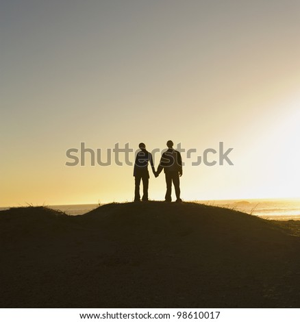Silhouette of couple holding hands on hill
