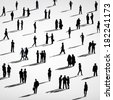 Silhouette of Crowd of Business People - stock